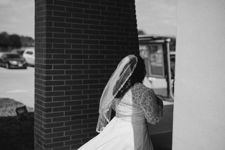 Bride walks into wedding