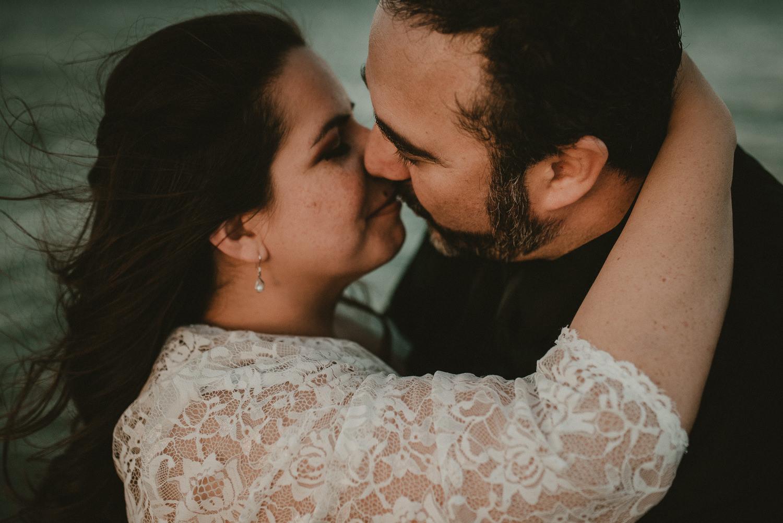 Texas Beach Wedding Kiss
