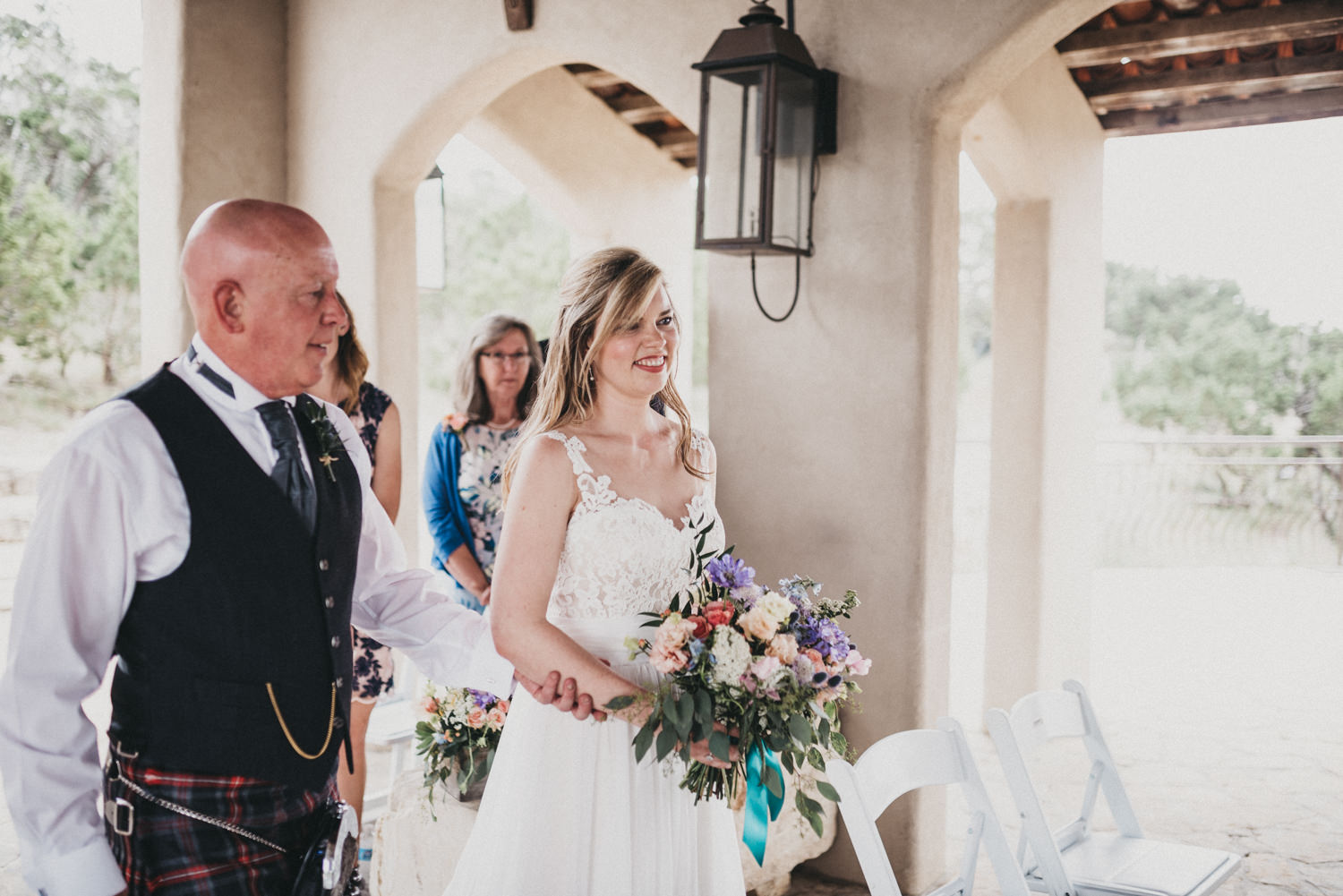Bride walked down the aisle at Chapel Dulcinea