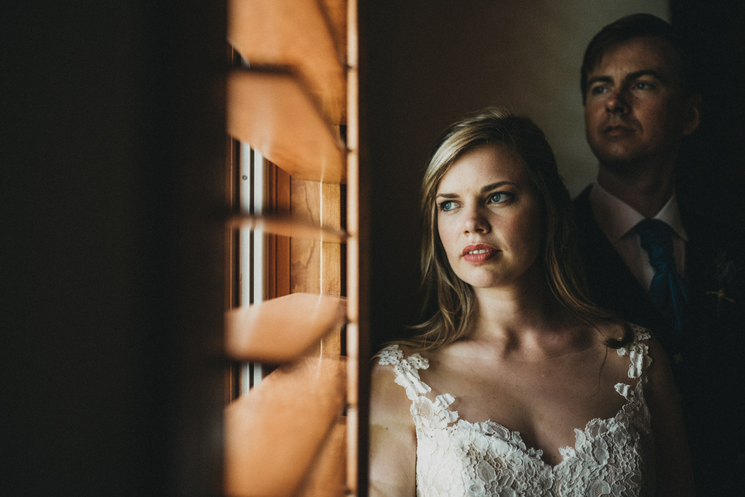 Window wedding portraits