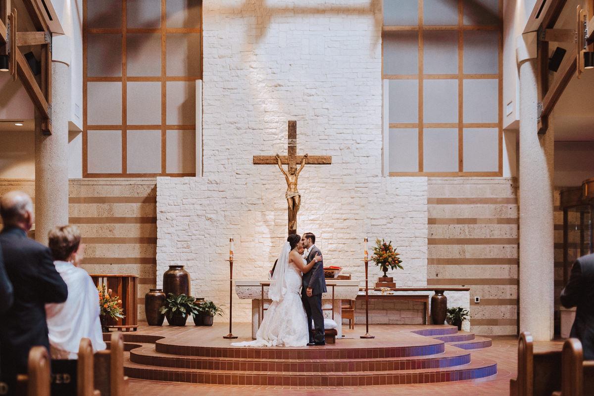 St Helen Catholic Wedding Kiss