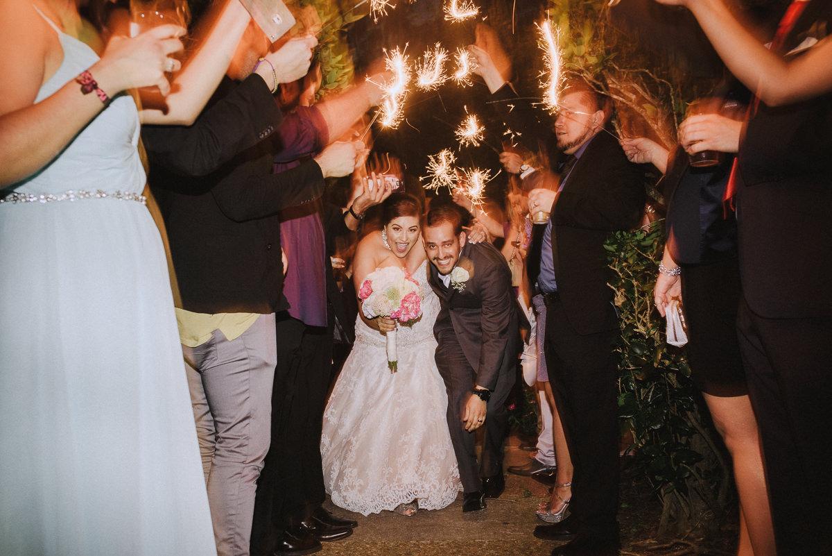 sparkler exit at houston wedding