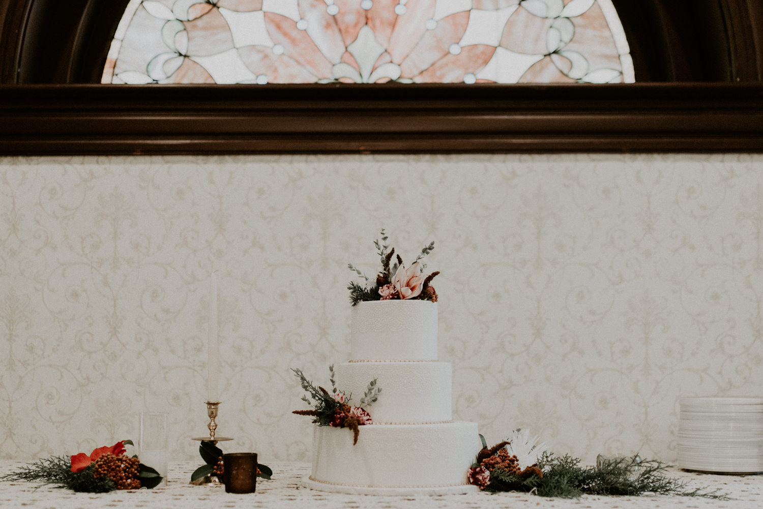 wedding cake display in victorian home