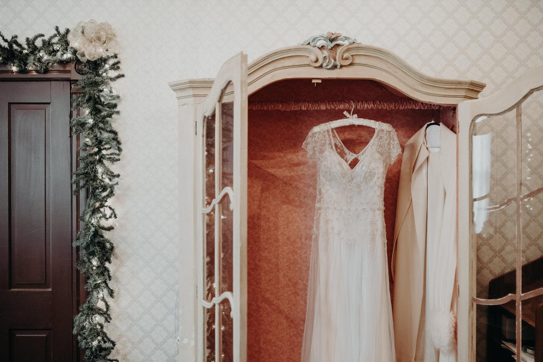 wedding dress in victorian home
