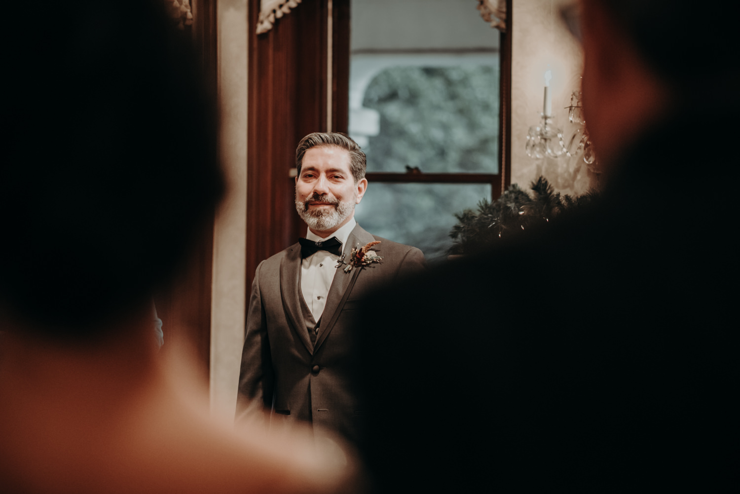 groom sees bride for the first time at wedding