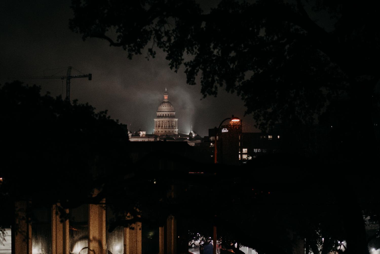 texas capital in rain and fog