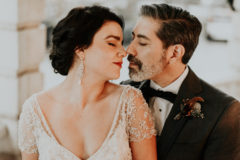 couple portraits at winter wedding