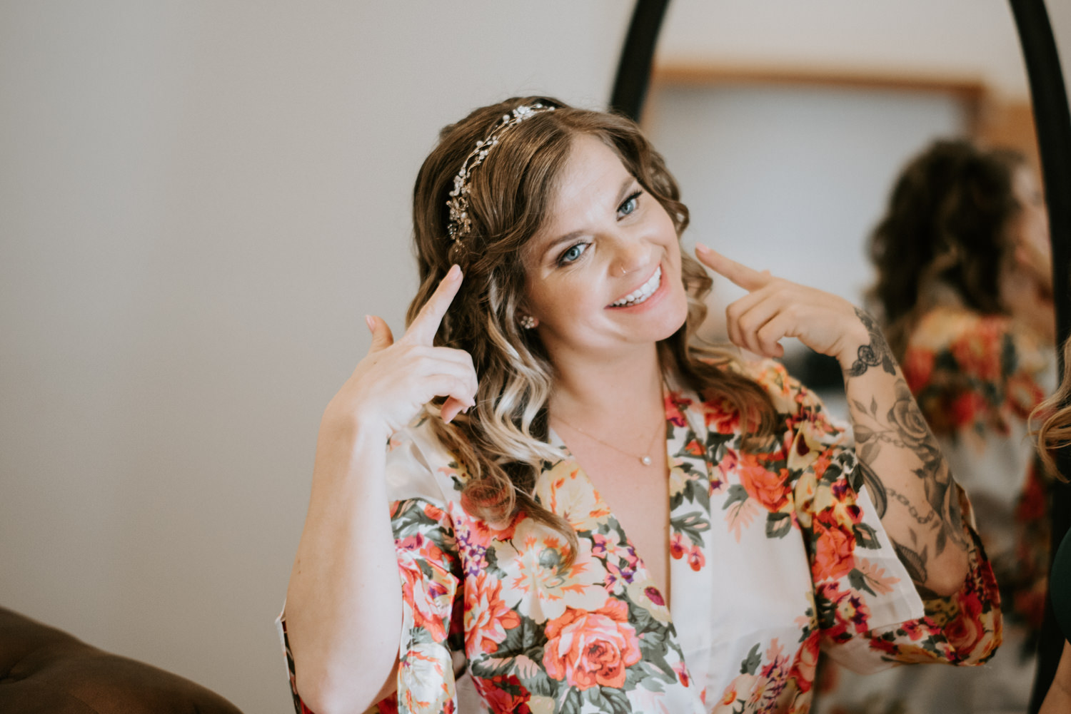 Bride is all smiles before wedding