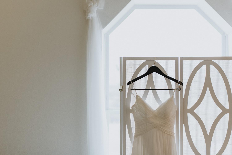 wedding dress hanging at Austin wedding