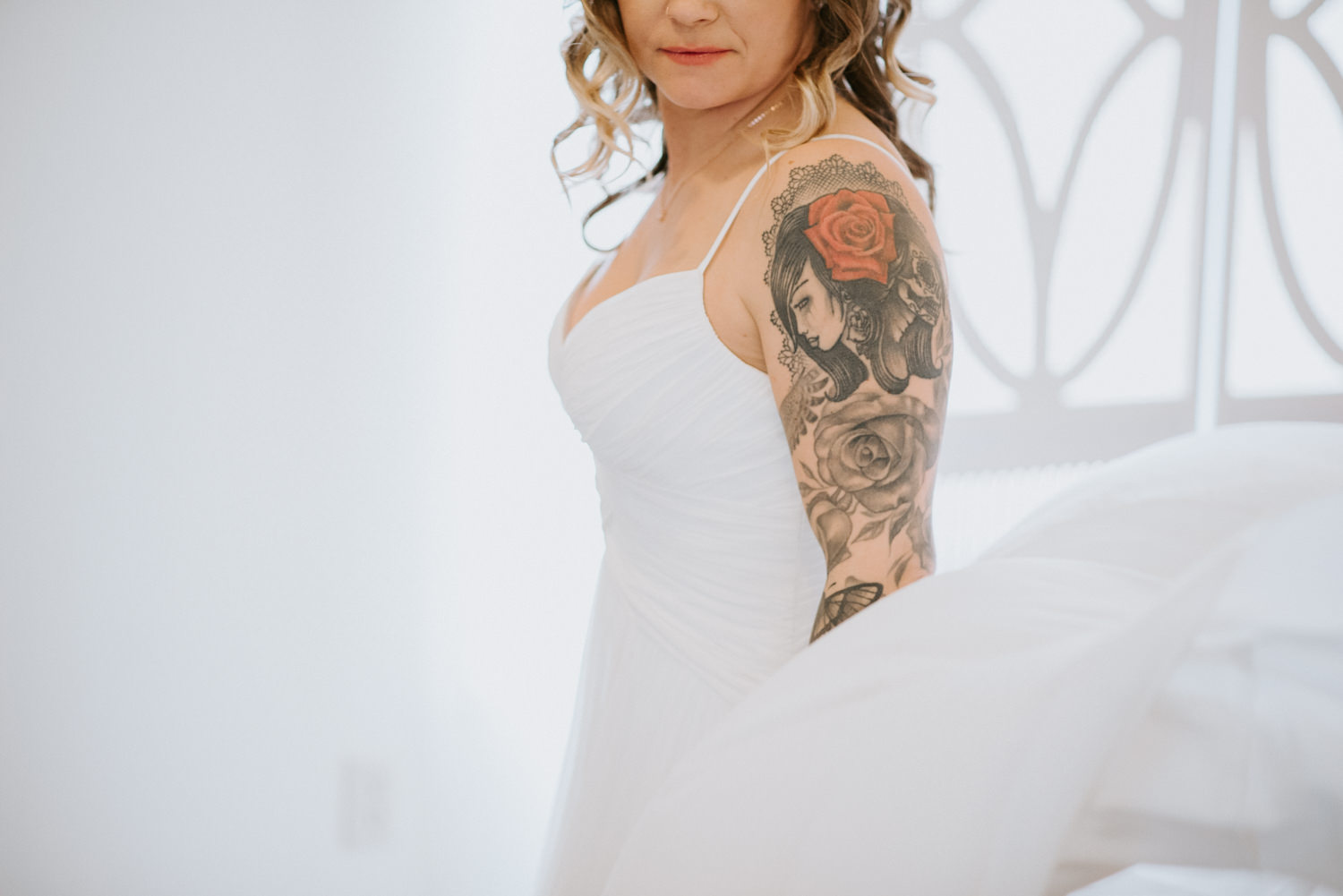 bride with beautiful arm sleeve
