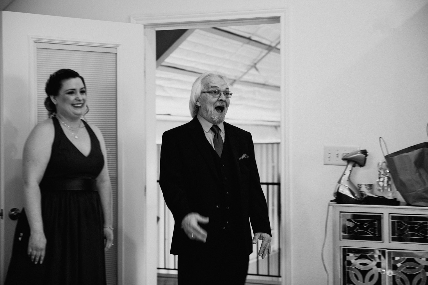 Father reacts to seeing his daughter at her wedding