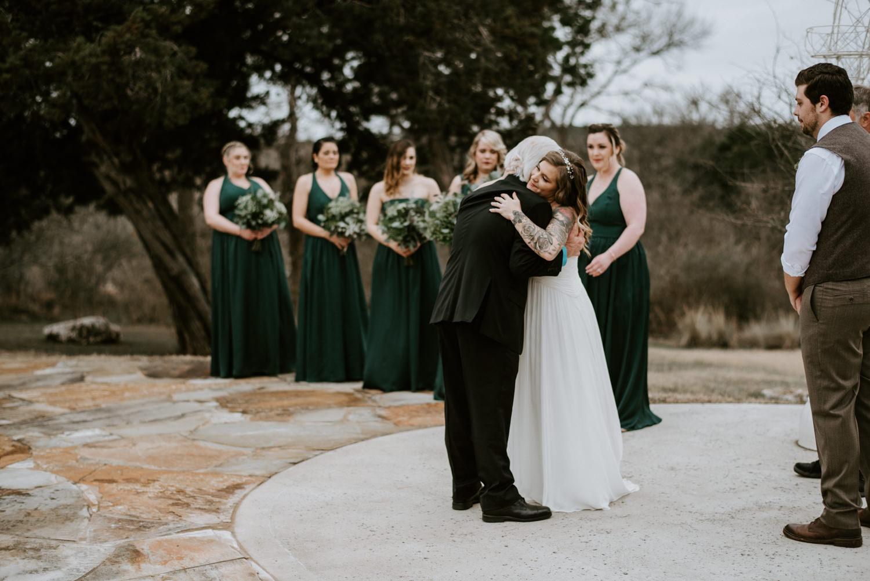 Bride hugs her father at her Terradorna wedding