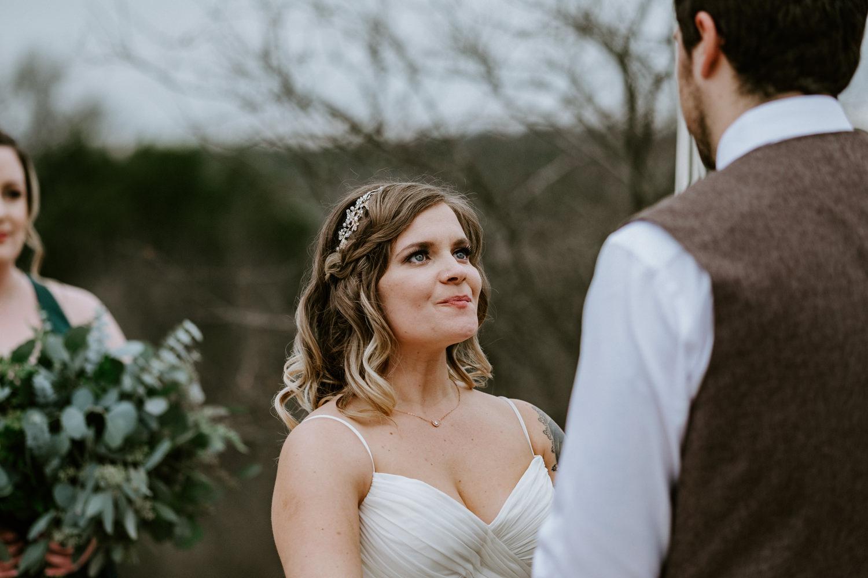 Bride looks at groom at austin texas wedding