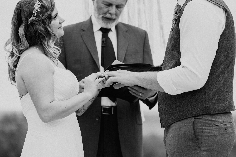 ring exchange at Texas wedding