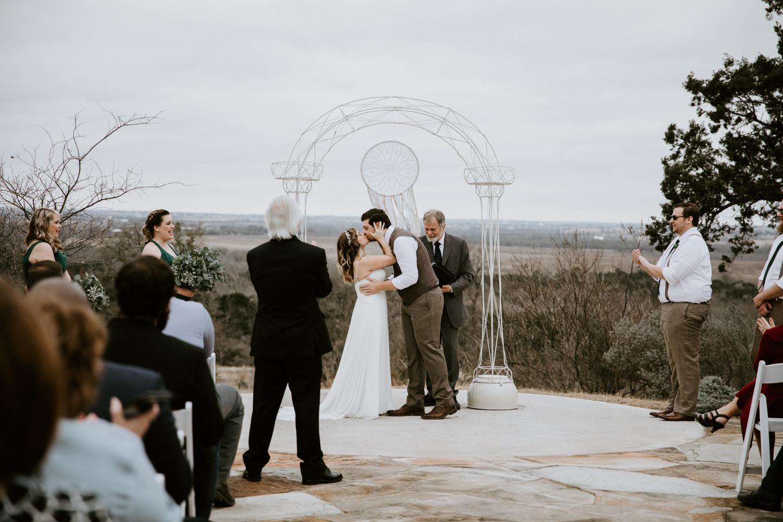 First kiss at TerrAdorna wedding