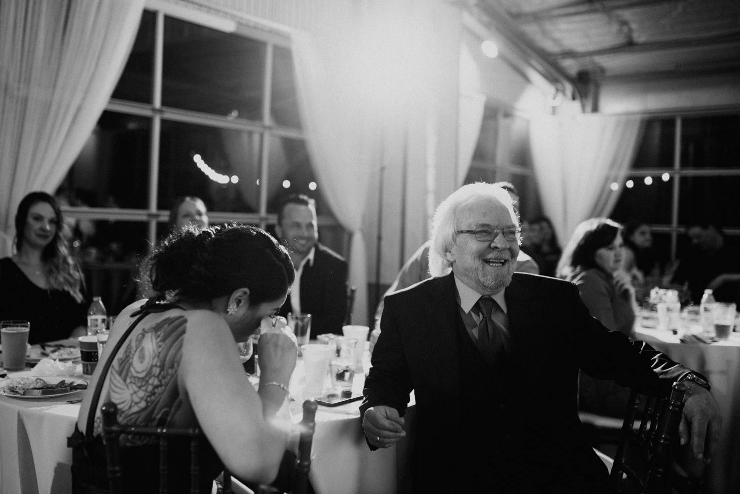 guest react to speeches at austin wedding