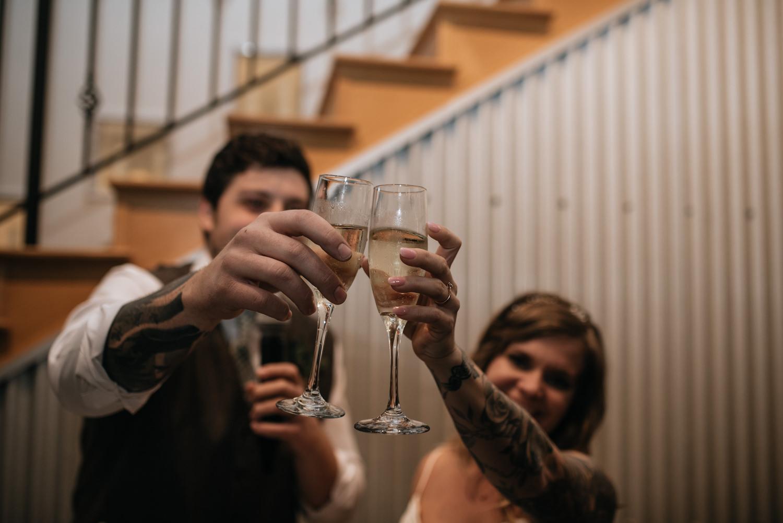 champagne toast at austin texas wedding