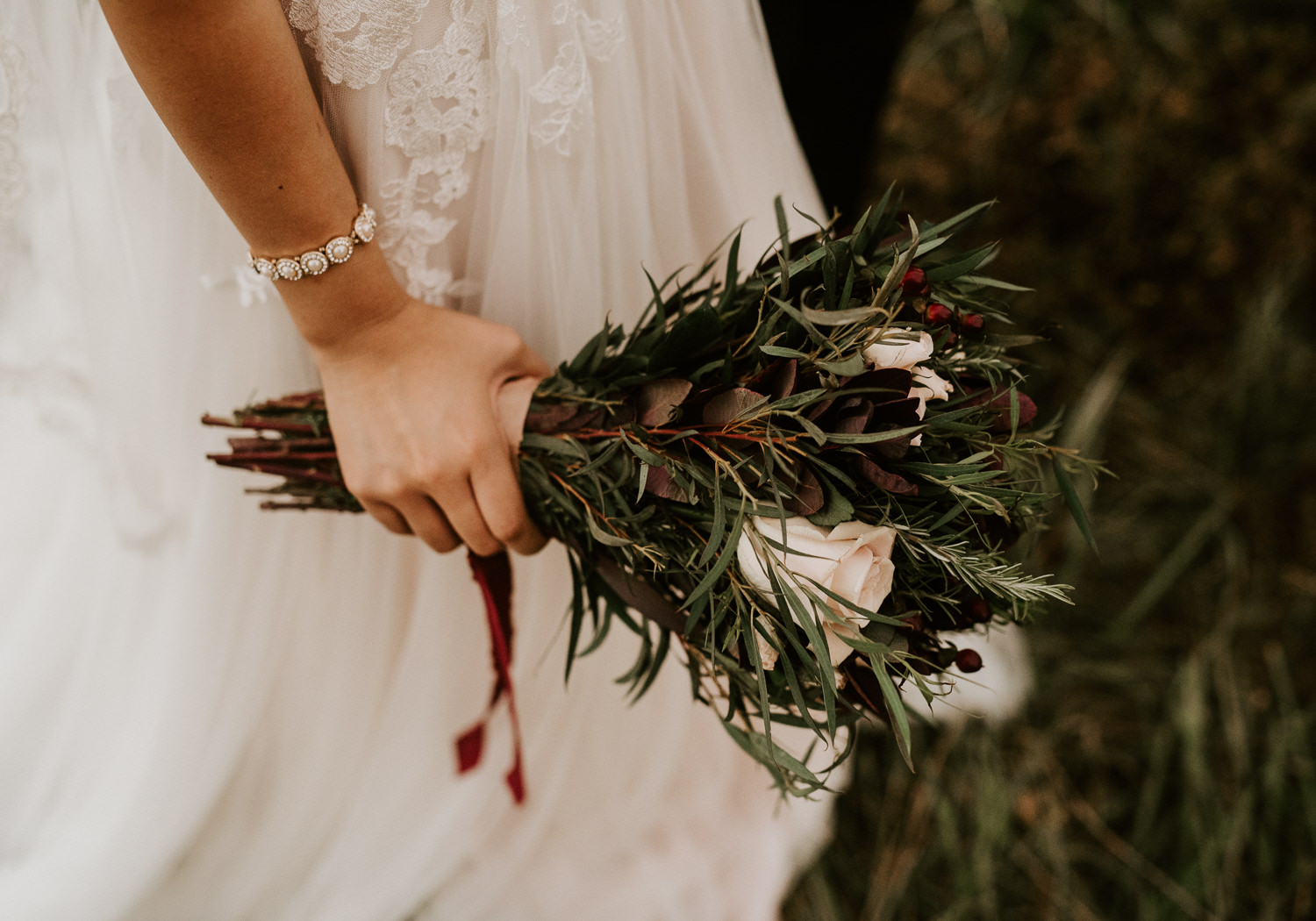 bride holds her bouquet at houston wedding