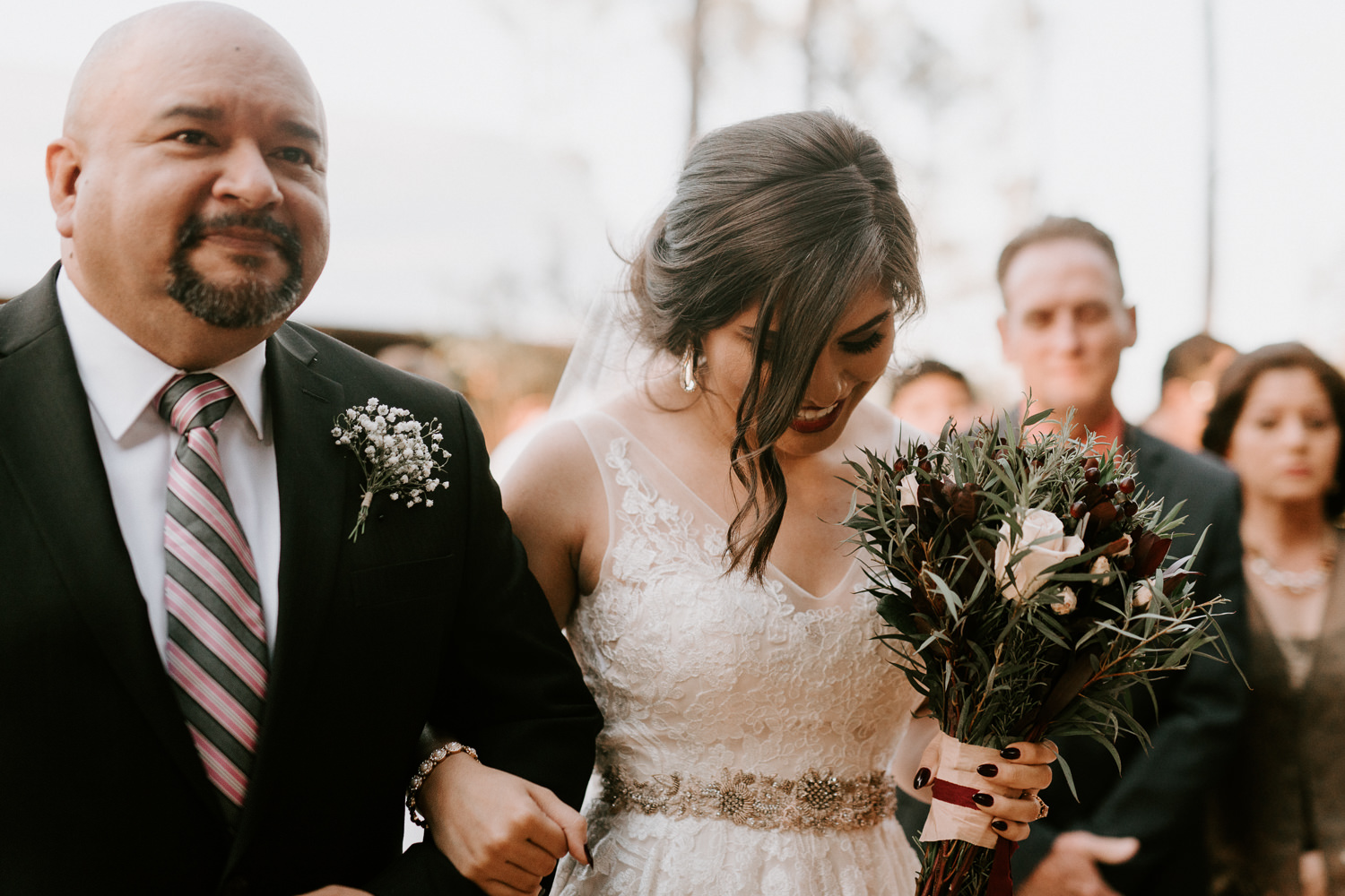 Bride walked down the aisle at The Woodlands wedding