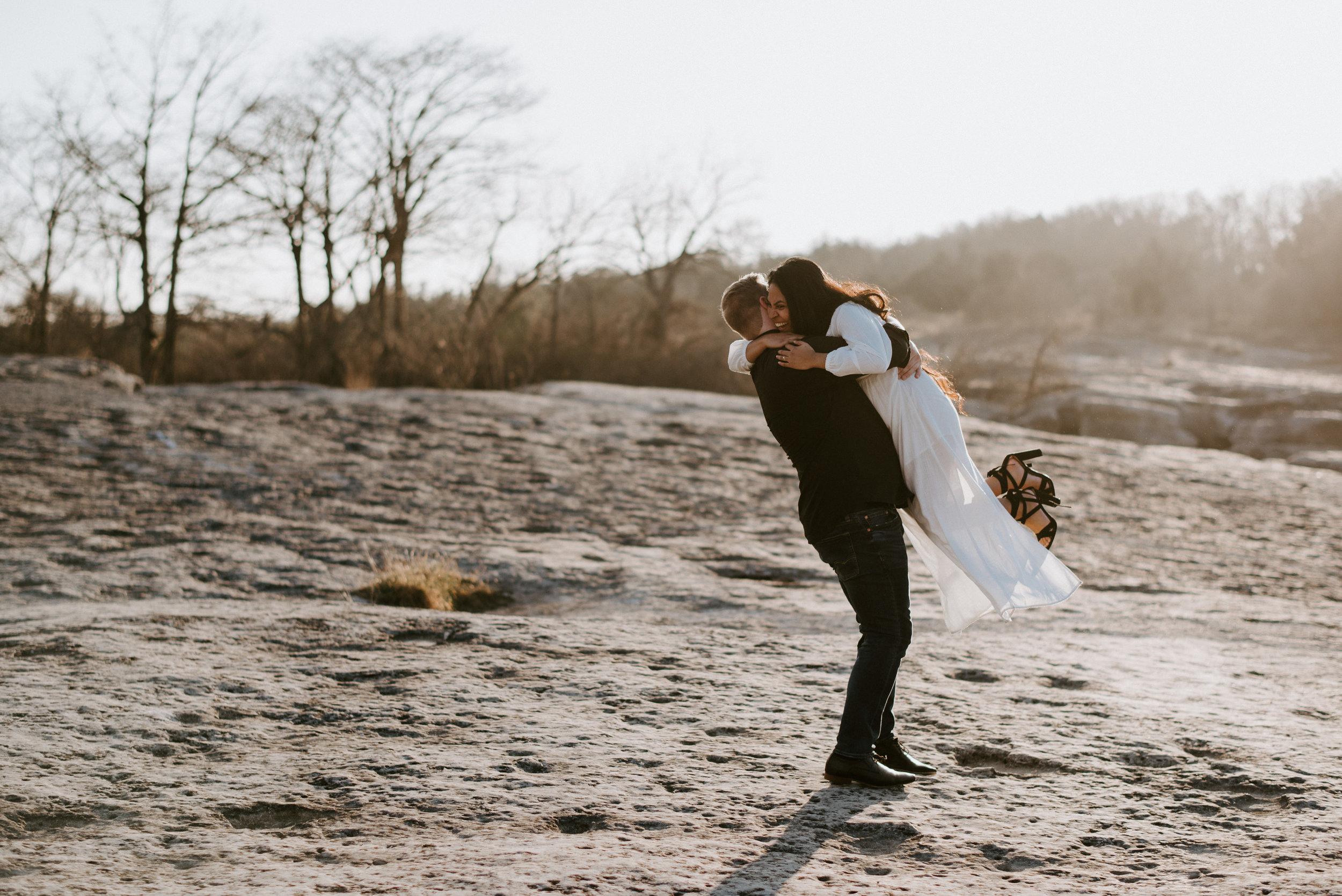 couple dances at engagement photoshoot