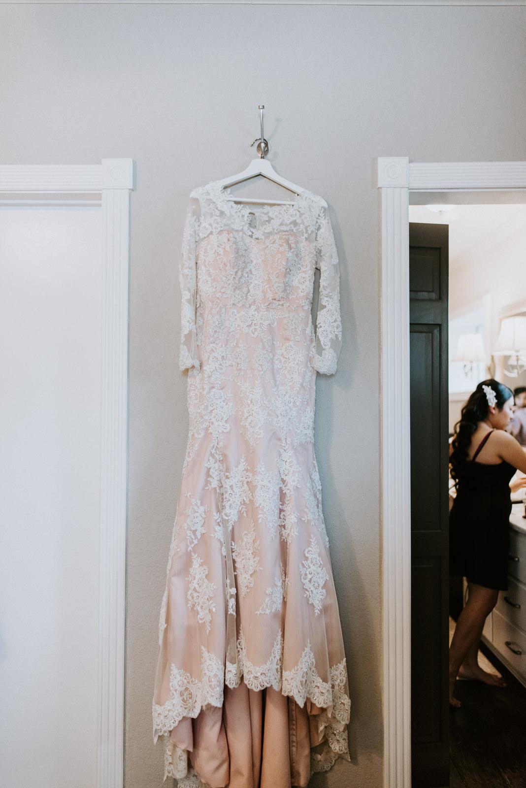 custom blush wedding dress