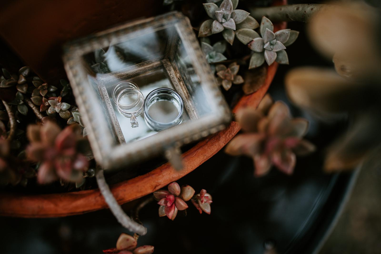 custom glass ring box at austin texas wedding