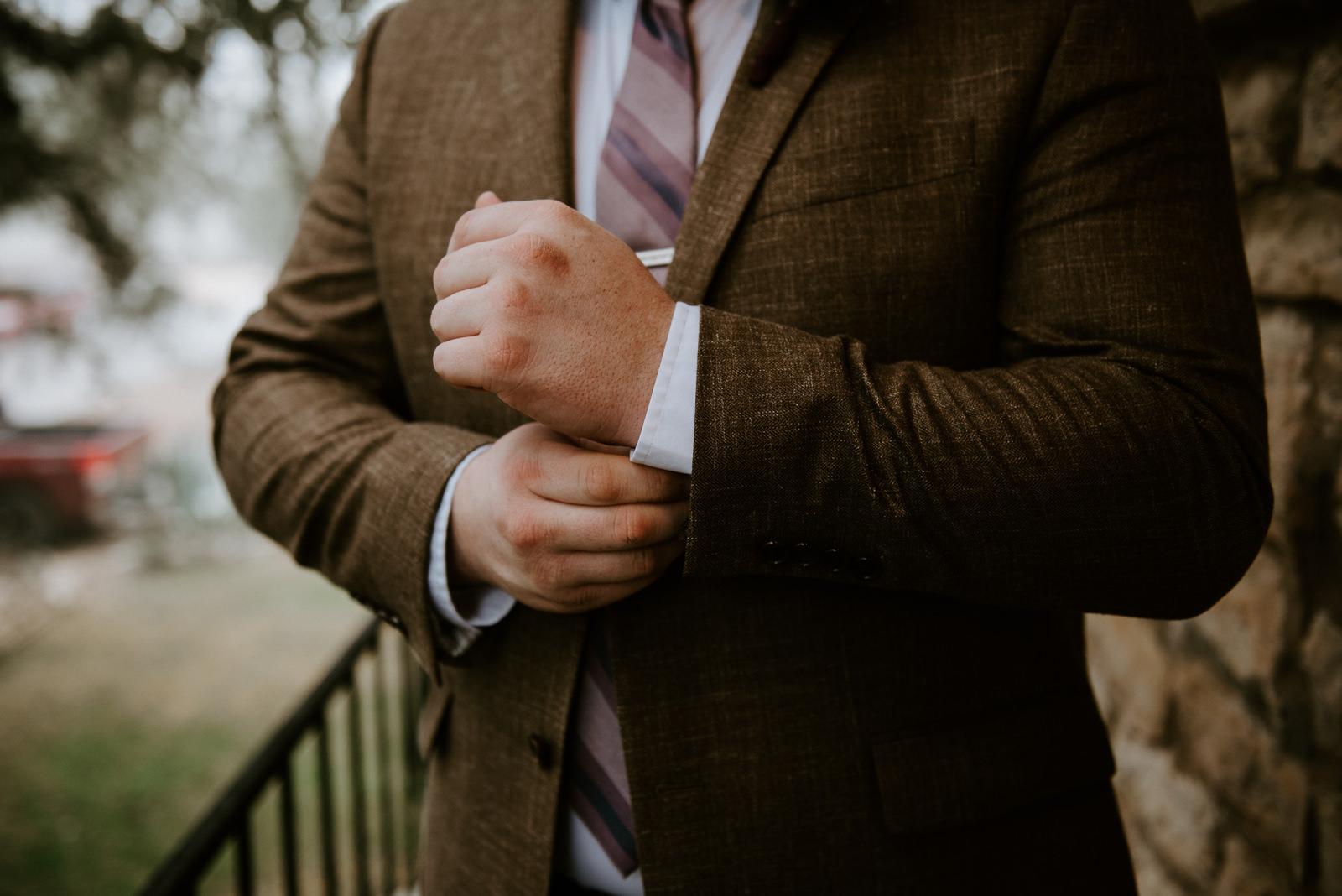 groom details at texas wedding