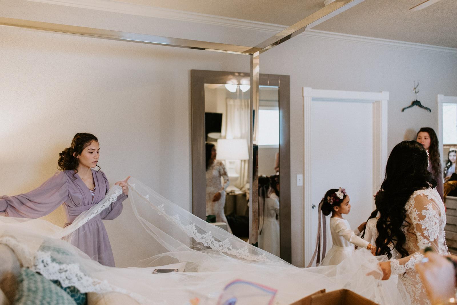 bride getting ready at stonehouse villa wedding