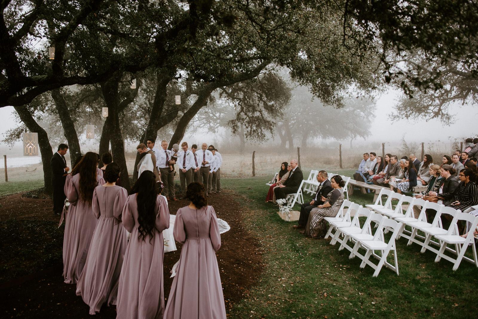 foggy wedding ceremony at stonehouse villa in austin