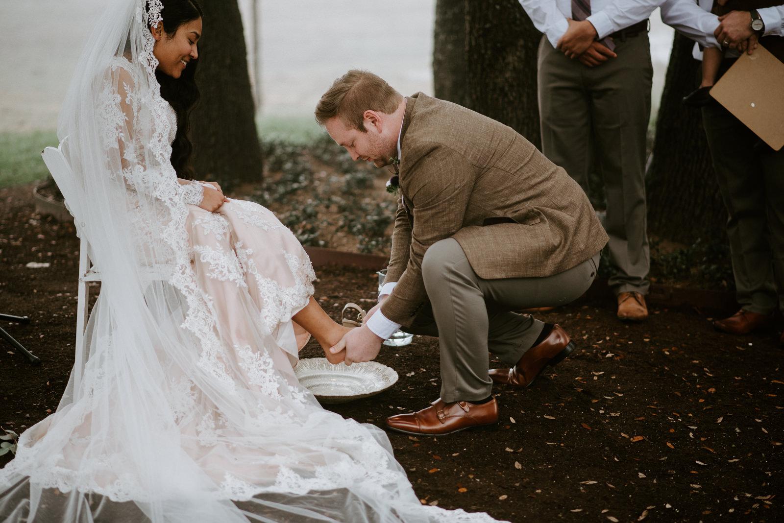 feet washing ritual at wedding ceremony