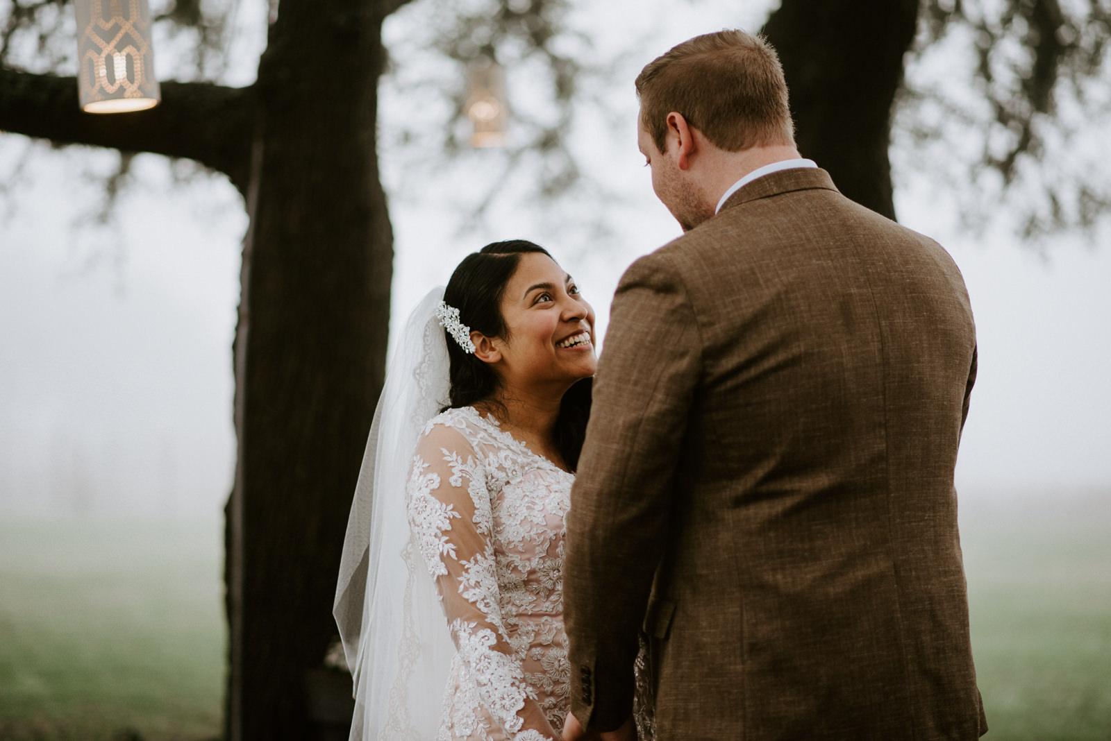 happy bride during texas wedding ceremony