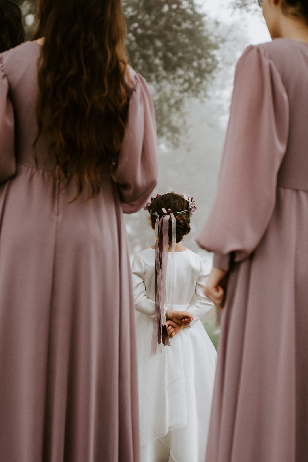 flower girl and bridesmaids at texas wedding