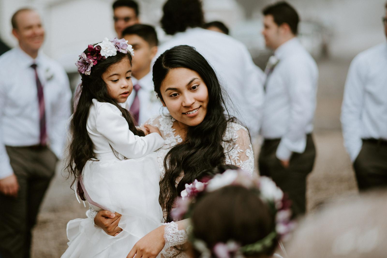 bride and flower girls after wedding