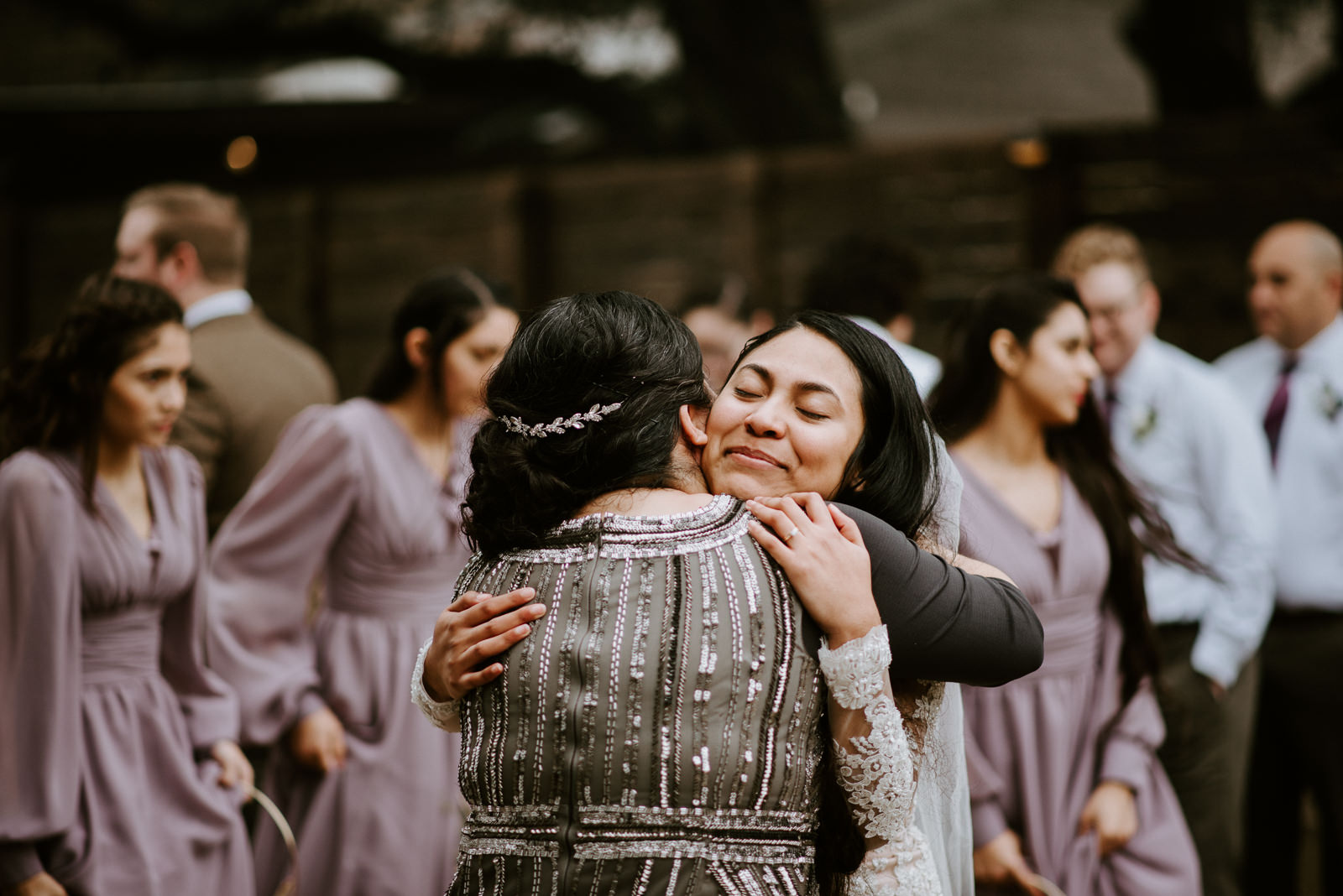 bride and mother after wedding ceremony