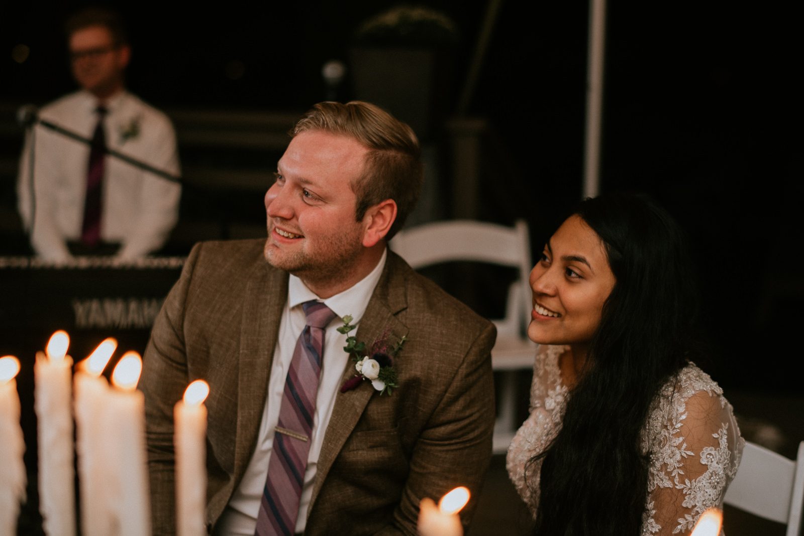 wedding recption bride and groom reactions