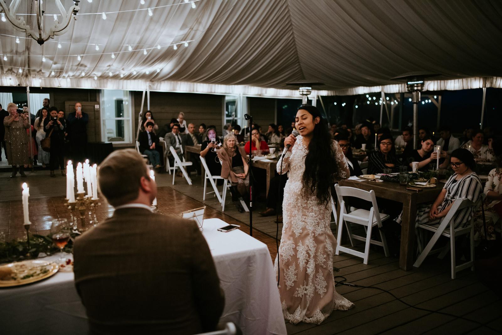 bride sings to groom at austin texas wedding