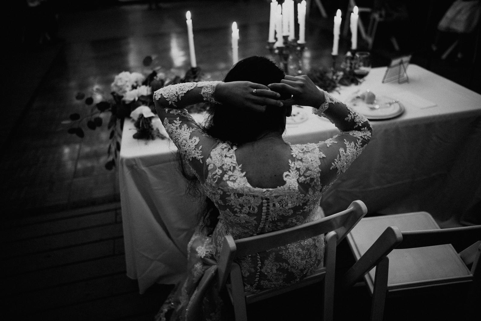 candid wedding photo at reception
