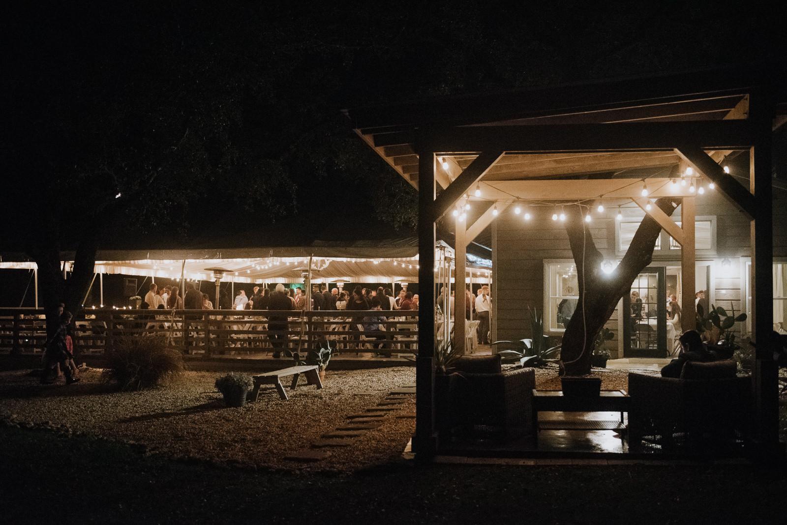 stonehouse villa at night in driftwood texas