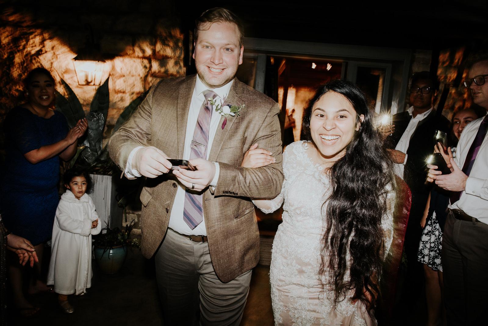 bride and groom sendoff at texas wedding
