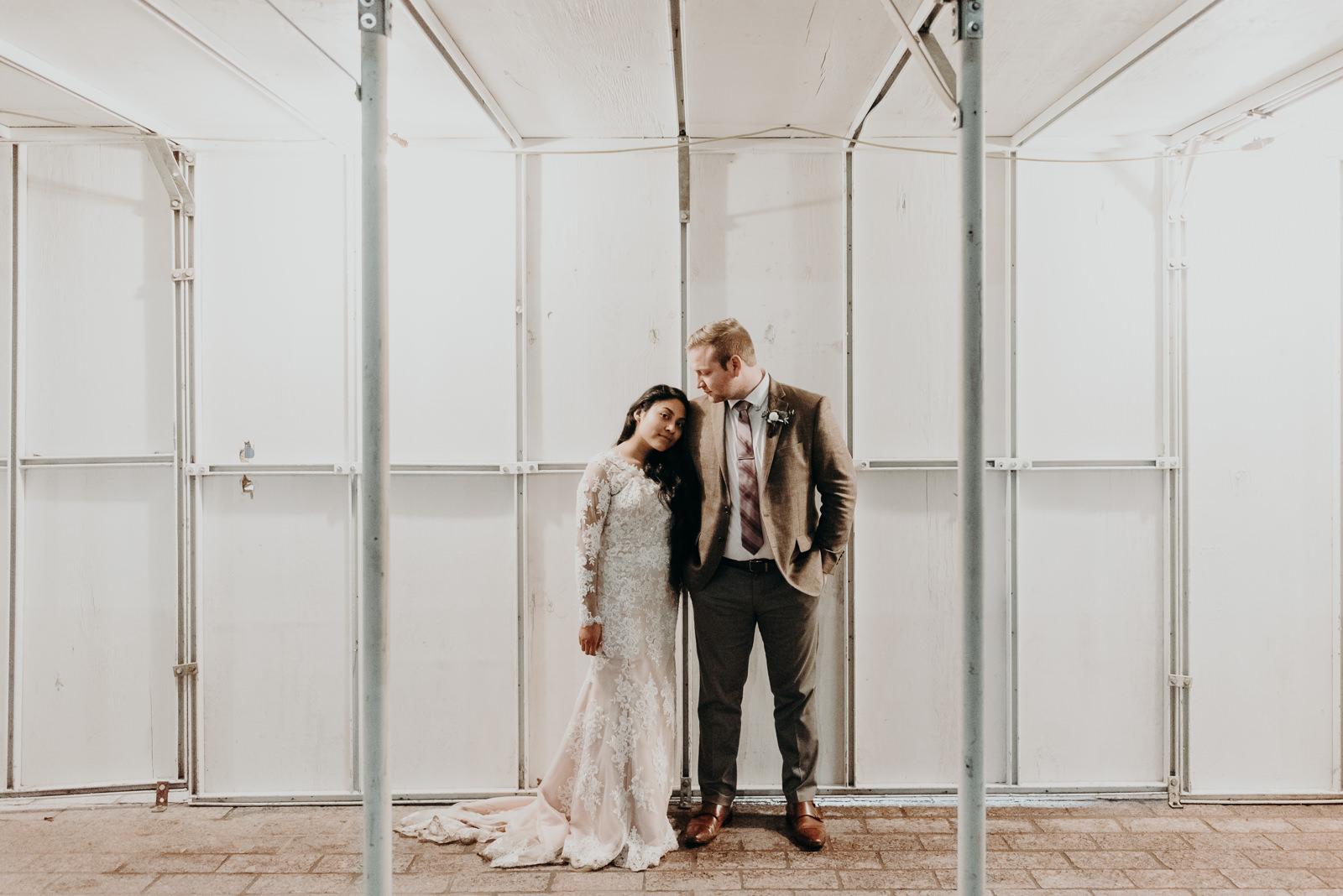 night wedding portraits in downtown austin texas