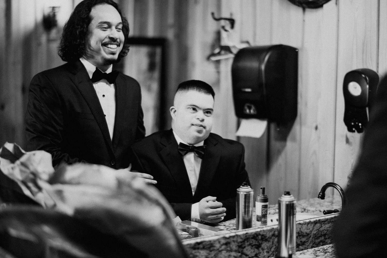 Groom getting ready with groomsmen