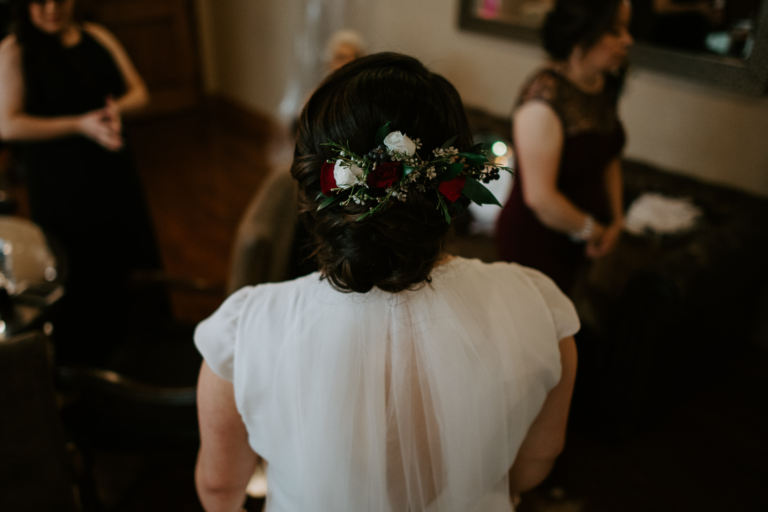 Bride with flowers in her hair