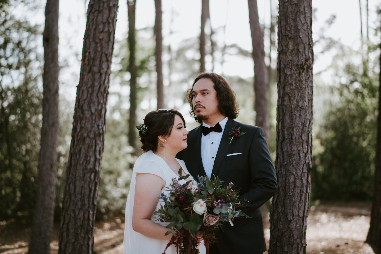 bride and groom portraits in the woodlands texas