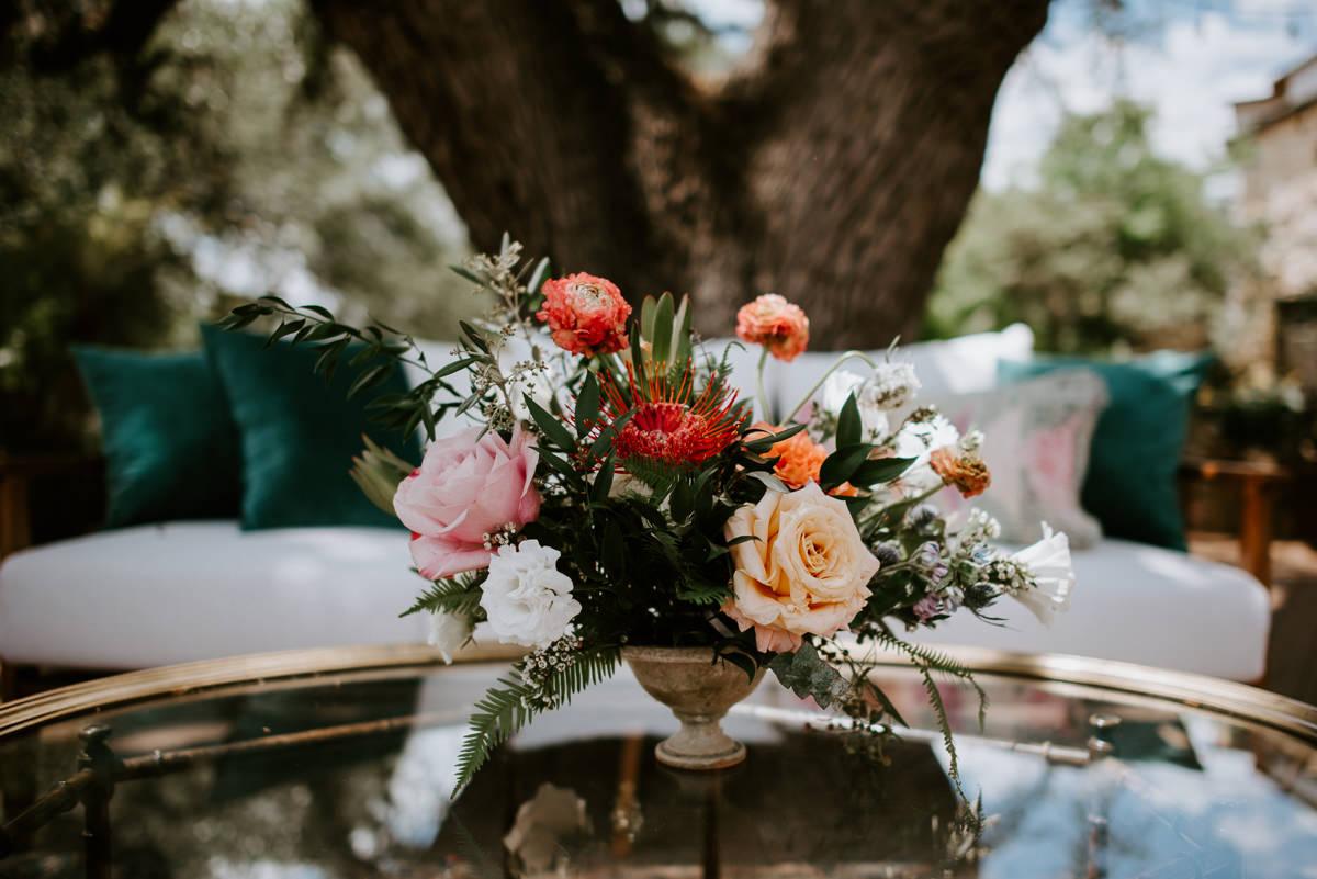 Gypsy florals arrangement at austin wedding