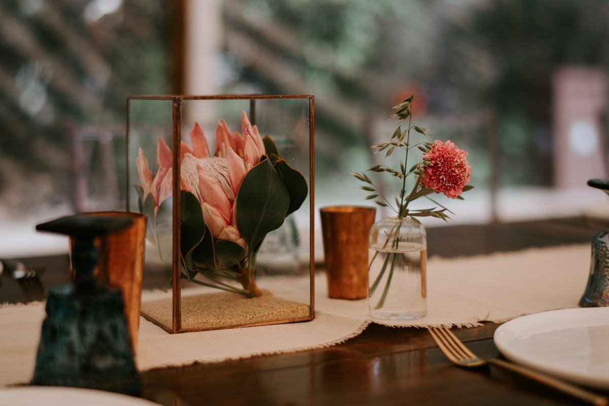 protea table decoration at texas wedding