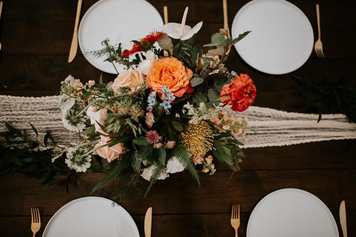 gypsy floral austin wedding table centerpiece