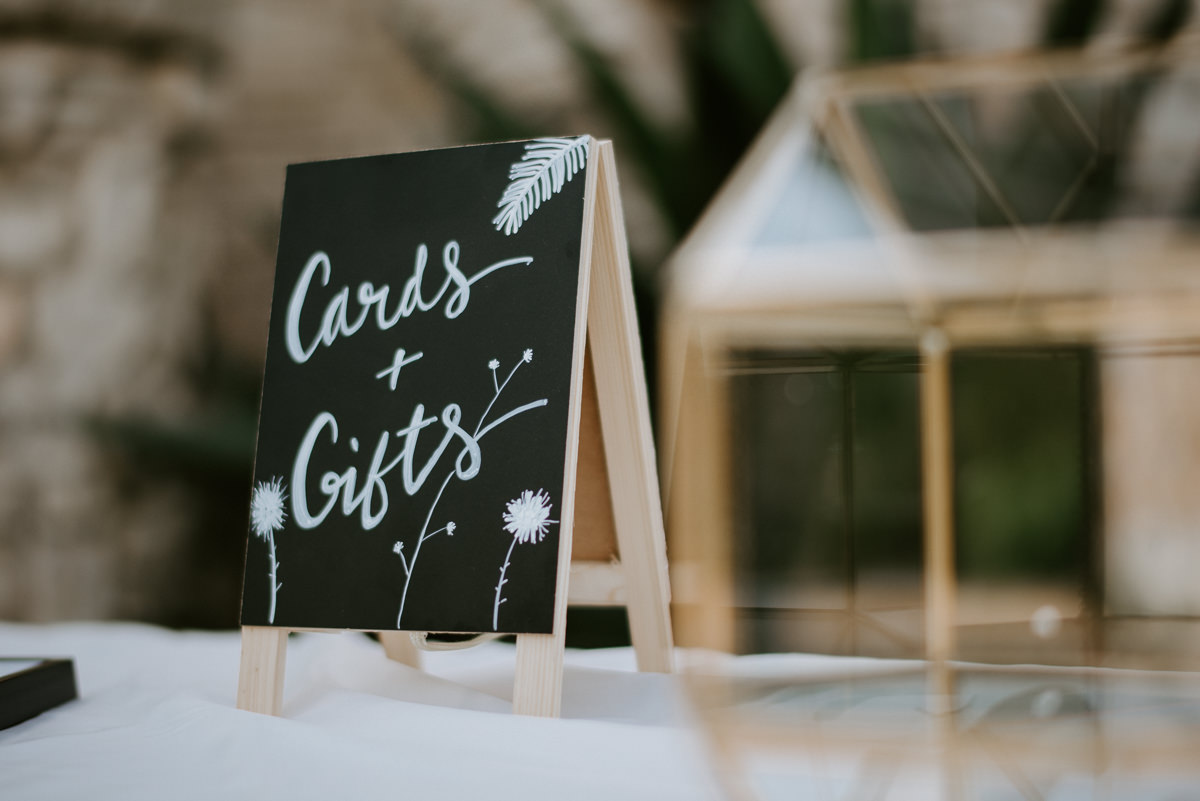 wedding cards and gifts sign