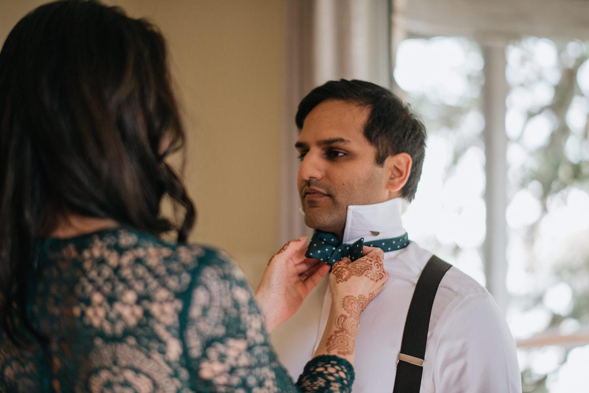 groom gets ready before austin wedding