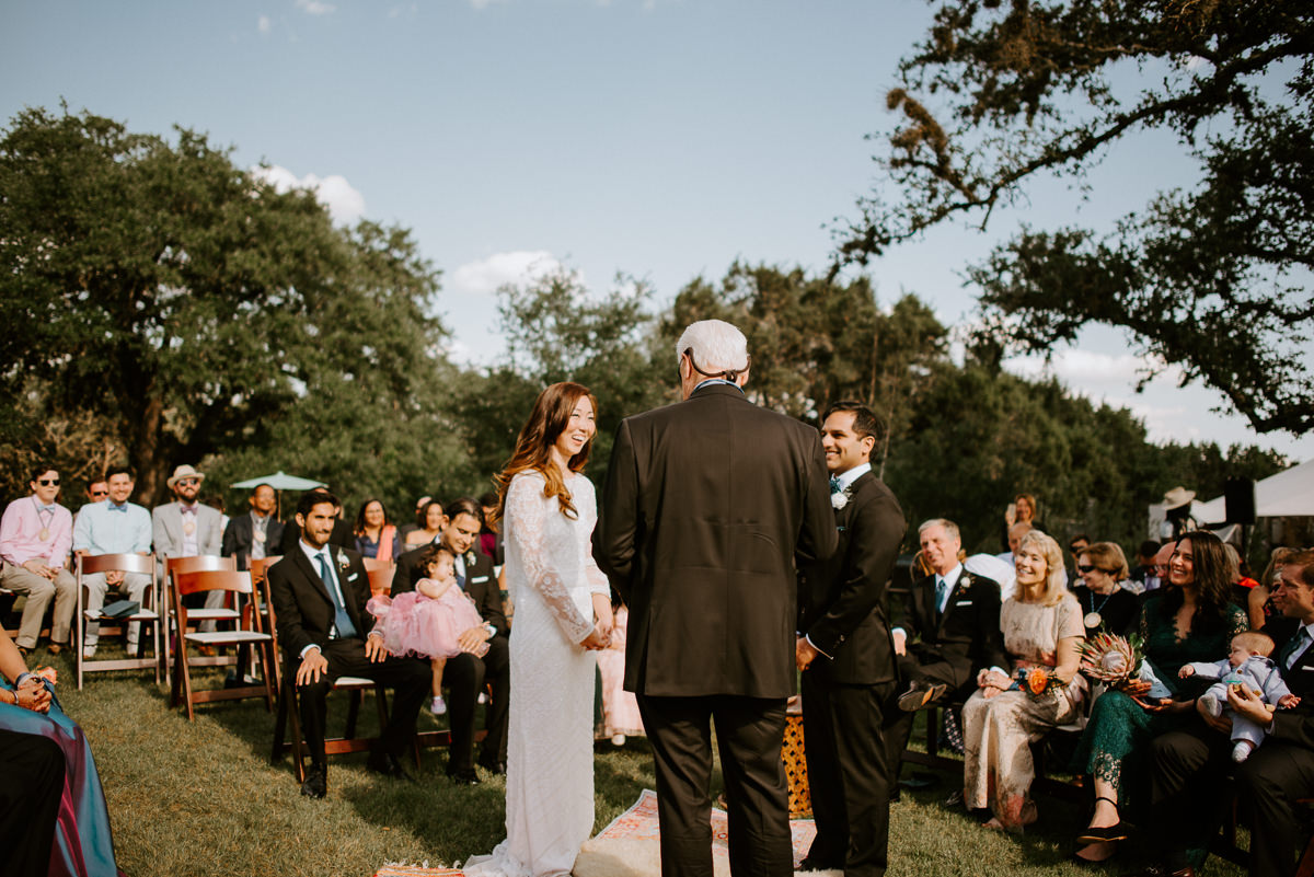 spring wedding ceremony at the greenhouse at driftwood