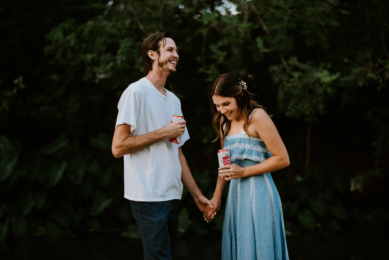 Engagement photos with Lone Star beer